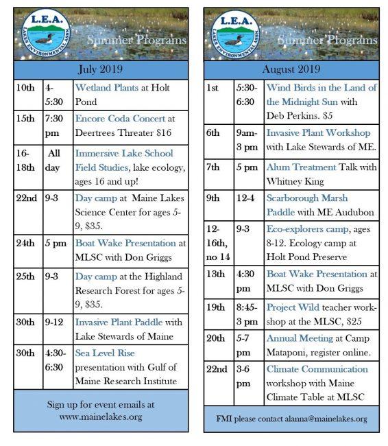 Lakes Environmental Association Events Calendar